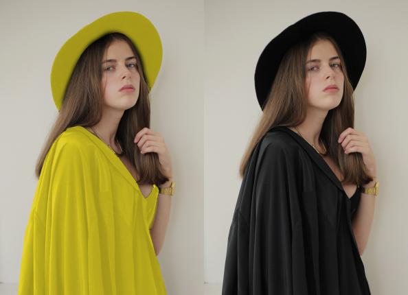 黄色と黒の女です。